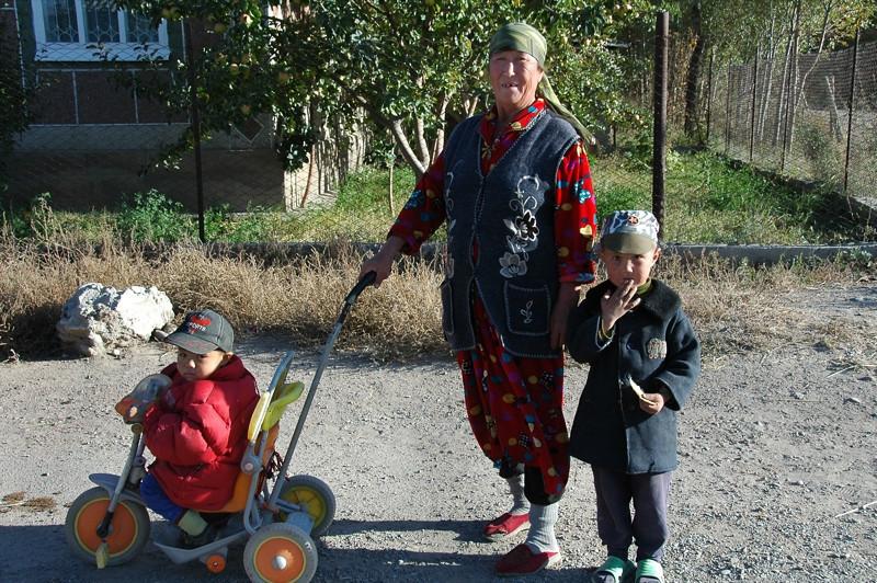 Kyrgyz Grandma with Kids - Kochkor, Kyrgyzstan