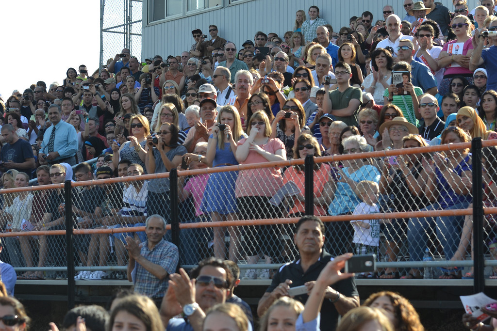 . There were plenty of cameras in the crowd Friday evening at Dearborn High School�s graduation ceremony. (Photo by Joe Slezak)