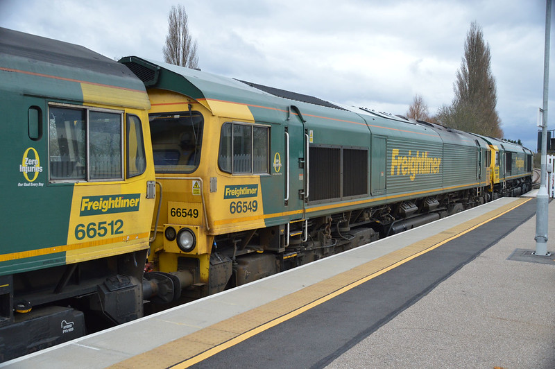 66585, 66549, 66512, 66547 pass through March Station on their way to Whitemoor Yard.
