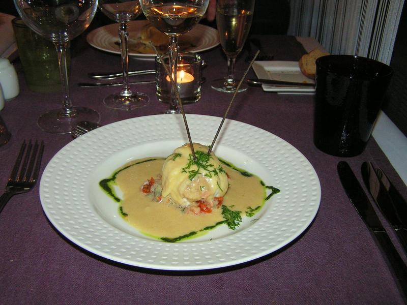 """""""Oostendse schartong in samenwerking met Black Tiger scampi op lavas bedje en sabayon van rijstwijn"""" (Sylvester-menu)"""