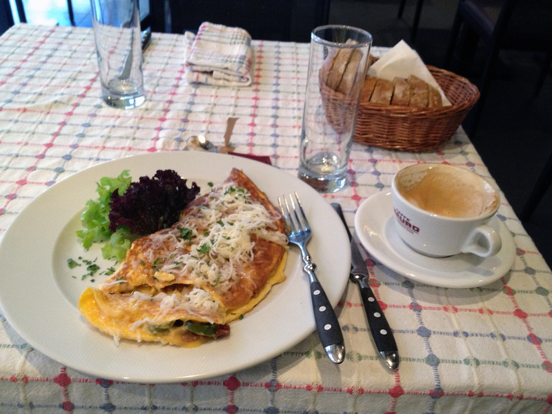 Italian omelette with parmesan and Pepsi