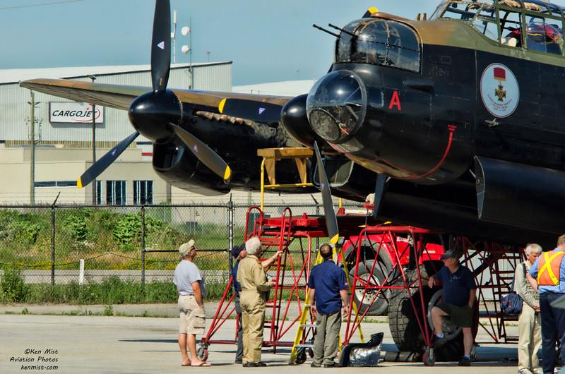 Maintenance on the Mynarski Lancaster at the Canadian Warplane Heritage Museum 2015 SkyFest.
