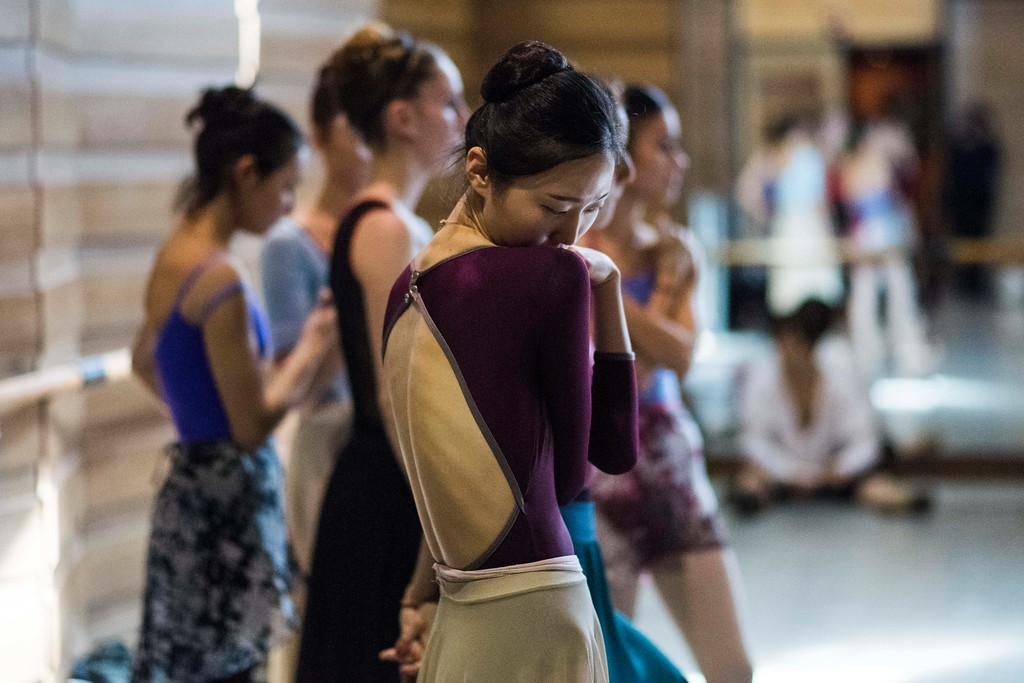. In this Tuesday, Sept. 12, 2017 photo, South Korean dancer Eunsil Kim attends rehearse for Romeo and Juliet in Montevideo, Uruguay. Julio Bocca, director of Uruguay�s National ballet of the Sodre, is attracting prestigious choreographers, instructors and international and local dancers to the company as he tries to old it into one of the best in the world. (AP Photo/Matilde Campodonico)