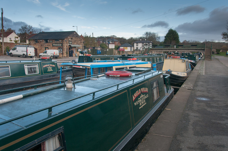 Canal boats parked in Llangollen Canal in Wales