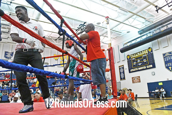 Bout #16:  Tyshawn Denson (Red Gloves), Akron, OH   vs.   Davon Lewis (Blue Gloves), Toledo, OH, 132 Lbs.