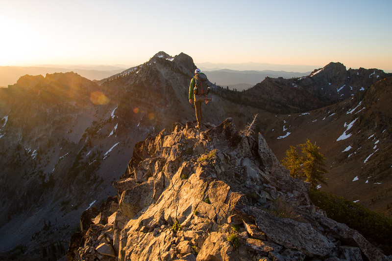 Sunrise summit in the Trinity Alps Wilderness in northern California.