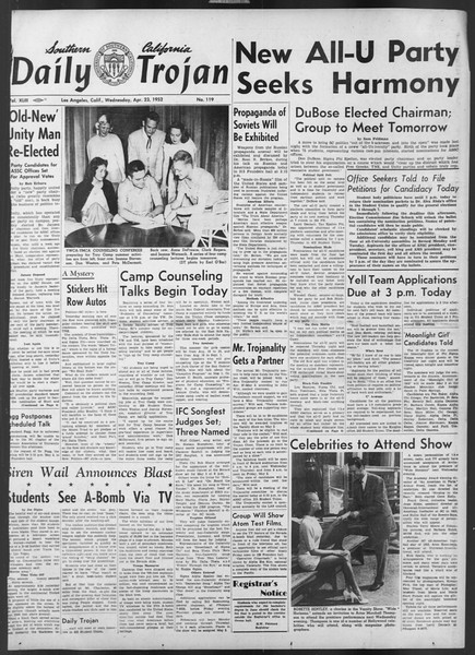 Daily Trojan, Vol. 43, No. 119, April 23, 1952