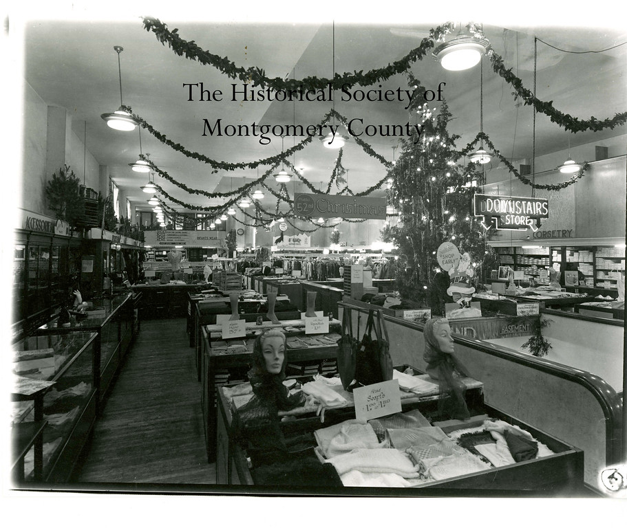 . This photo from the Historical Society of Montgomery County shows the New York Store, which was a department store in Norristown. This interior photo was taken in the 1940�s during the Christmas season.