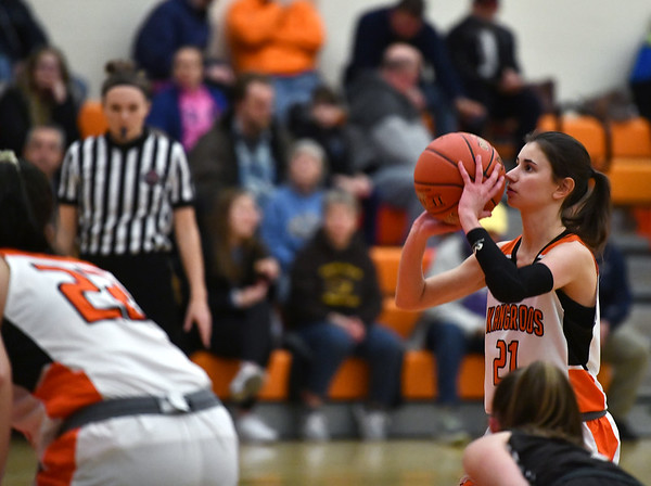2/14/2020 Mike Orazzi | StaffrTerryville High School's Amy Roqi (21) during Friday evening's girls basketball game with Thomaston in Terryville. r