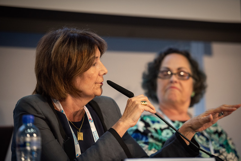 22nd International AIDS Conference (AIDS 2018) Amsterdam, Netherlands.   Copyright: Steve Forrest/Workers' Photos/ IAS  Photo shows: HIV Cure Research with the Community Workshop: What is New in the Clinic? left to Right: Christine Katlama, Sorbonne University, Paris, France; Moderator Lynda Dee, AIDS Action Baltimore, United States.