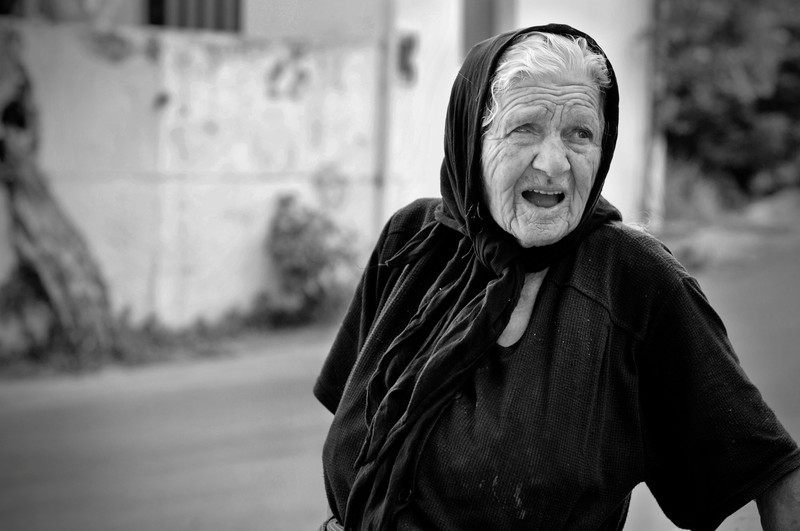 Old woman in a Cretan village