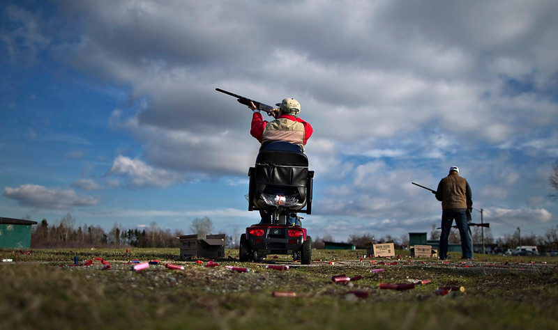. A member of the Vancouver Gun Club takes aim while trap shooting at their facility in Richmond, British Columbia February 10, 2013. Formed in 1924, the shotgun-only club has a regular membership of about 400 and sells an estimated 1100 day passes each year. Canada has very strict laws controlling the use of handguns and violent crime is relatively rare. Picture taken February 10, 2013. REUTERS/Andy Clark
