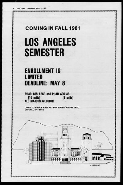 Daily Trojan, Vol. 90, No. 29, March 18, 1981