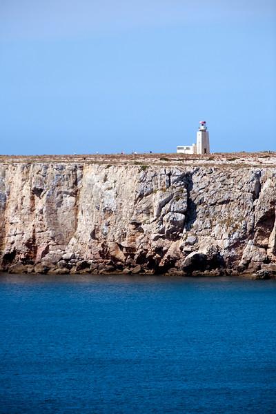 Lighthouse at Sagres point, Atlantic Ocean. Town of Sagres, municipality of Vila do Bispo, district of Faro, region of Algarve, southwestern Portugal