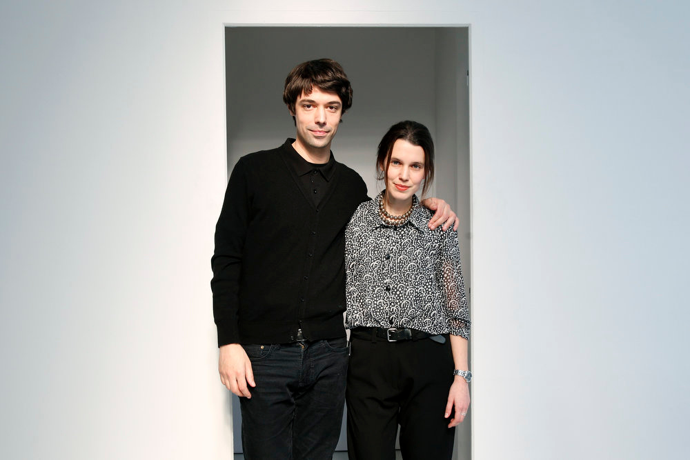 Description of . French designers Francois Alary and Ophelie Klere pose after their Fall-Winter 2013/2014 women\'s ready-to-wear fashion show for fashion house Devastee during Paris fashion week February 26, 2013.  REUTERS/Charles Platiau