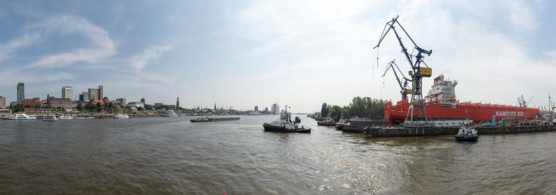 Panorama Hamburg Elbe öffnen des Trockendocks