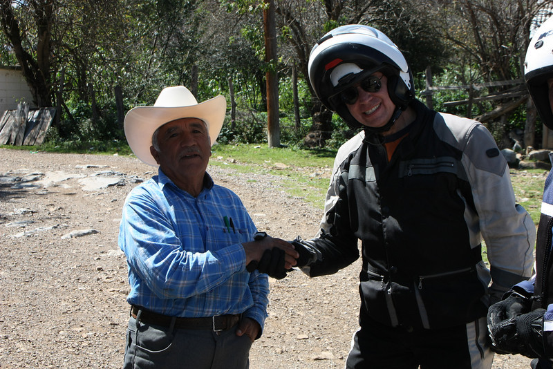 Meeting the locals in the village of La Encantada.