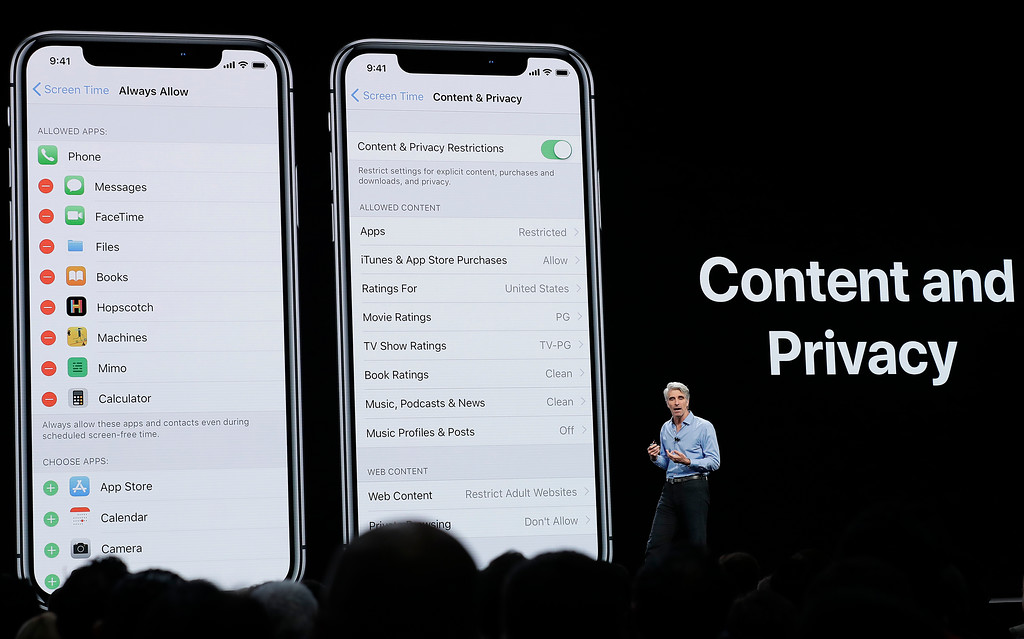 . Craig Federighi, Apple\'s senior vice president of Software Engineering, speaks about content and privacy during an announcement of new products at the Apple Worldwide Developers Conference Monday, June 4, 2018, in San Jose, Calif. (AP Photo/Marcio Jose Sanchez)