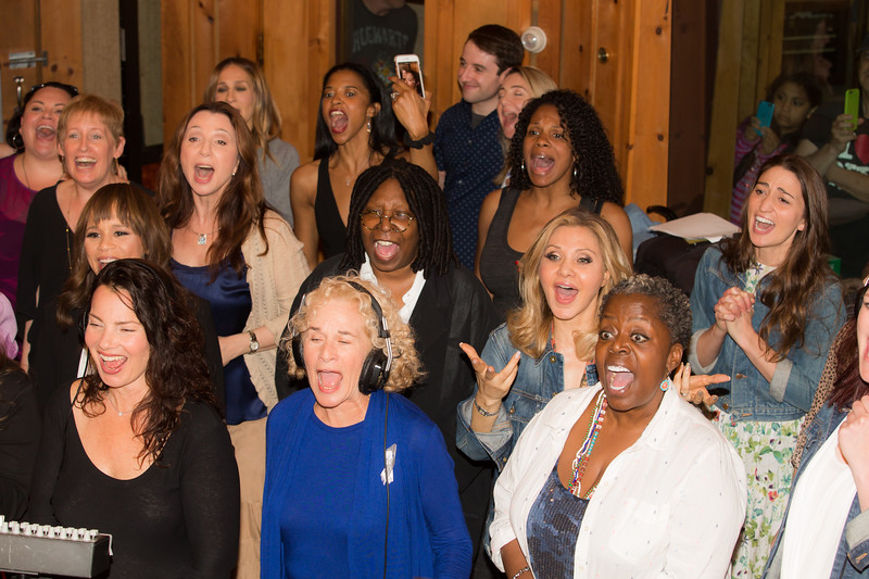 """Front row (l-r) Fran Drescher, Carole King, Lillias White; 2nd row (l-r) Rosie Perez, Whoopi Golberg, Orfeh, Sara Bareilles; 3rd row (l-r) Liz Callaway, Donna Murphy, Audra McDonald; 4th row (l-r) Keala Settle, Sara Jessica Parker, Renee Elise Goldsberry at the Broadway for Orlando benefit single recording of """"What the World Needs Now Is Love"""" - June 15, 2016 - Avatar Studios, NYC (Photo: Jeremy Daniel)"""