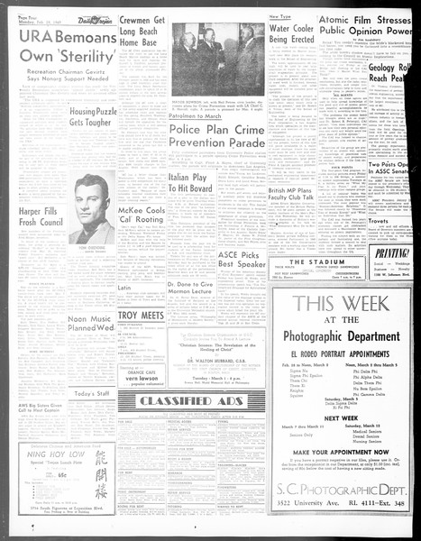 Daily Trojan, Vol. 40, No. 87, February 28, 1949