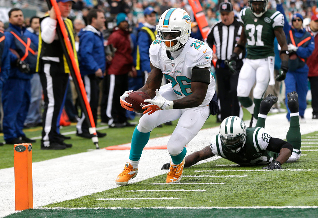 . Miami Dolphins running back Lamar Miller (26) steps out of bounds after being hit by New York Jets defensive back Aaron Berry (22) before the goal line during the first half of an NFL football game, Sunday, Dec. 1, 2013, in East Rutherford, N.J. (AP Photo/Seth Wenig)