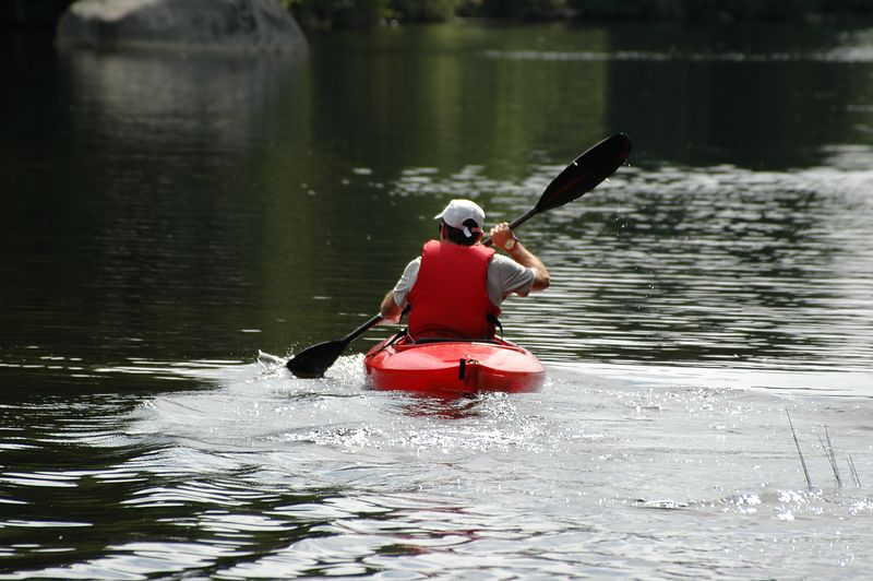 Joe Bravtigan takes off from the canoe launch