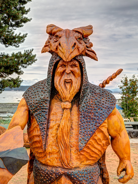 Dragon slayer. Chainsaw Sculpture Competition. Campbell River British Columbia