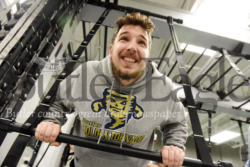 Harold Aughton/Butler Eagle: Josh Denny, a school counselor from Williamsburg, VA, works out at the Butler YMCA while home on Thanksgiving break.