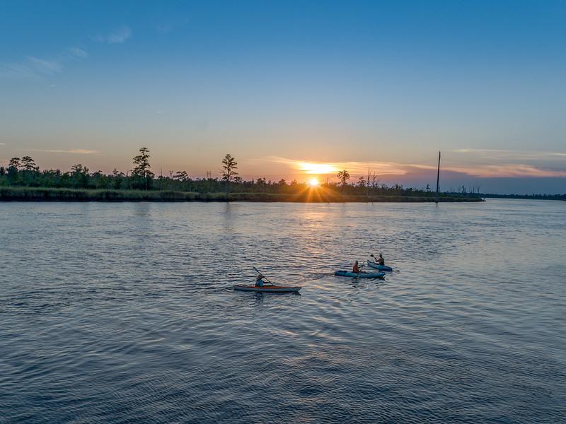 Kayakers at Sunset