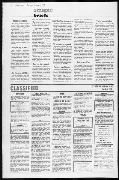 Daily Trojan, Vol. 68, No. 63, January 08, 1976