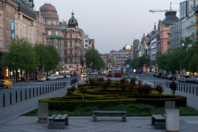 City park in Wenceslas Square- Prague, Czech Republic