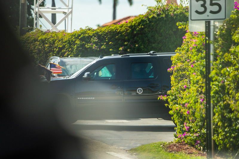 President Donald J. Trump's motorcade leaves Mar-a-Lago to head back to Palm Beach International Airport on Sunday, March 31, 2019. [JOSEPH FORZANO/palmbeachpost.com]