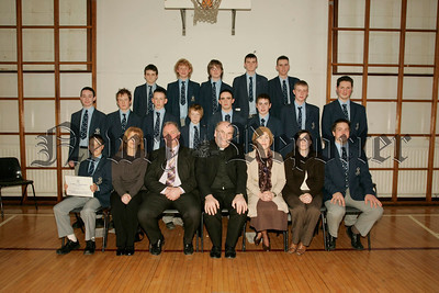 St Colmans College Junior prizegiving. Pictured with the platform party led by Principal Dr Francis Brown are pupils who achieved first place in English, Maths and Science.