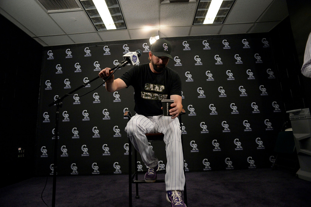 . Todd Helton (17) of the Colorado Rockies holds a press conference for the media September 25, 2013 at Coors Field. Helton will retire at the end of the season after 17 years with the club. (Photo By John Leyba/The Denver Post)