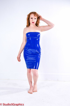Elle Blue Latex Dress