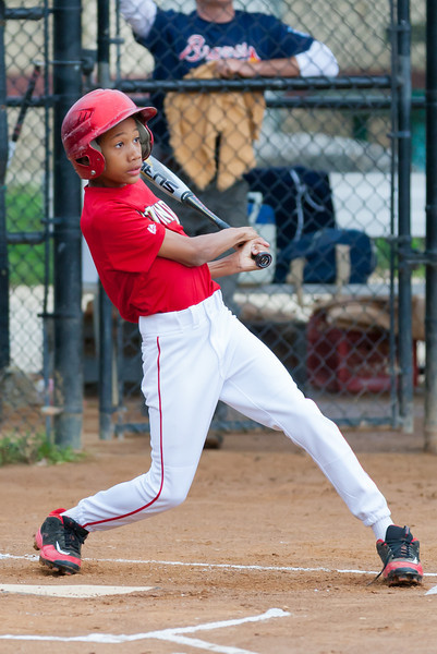 Jack hits a RBI triple in the top of the 1st inning. Nats lead 1-0. The Nationals played well both offensively and defensively, and won 10-3 over the Braves. They are now 5-3 for the season. 2012 Arlington Little League Baseball, Majors Division. Nationals vs Braves (08 May 2012) (Image taken by Patrick R. Kane on 08 May 2012 with Canon EOS-1D Mark III at ISO 1600, f2.8, 1/1600 sec and 182mm)