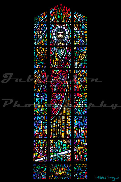 St. Paul's Episcopal Church - The St. Paul window.  Not sure what's up with the sword.