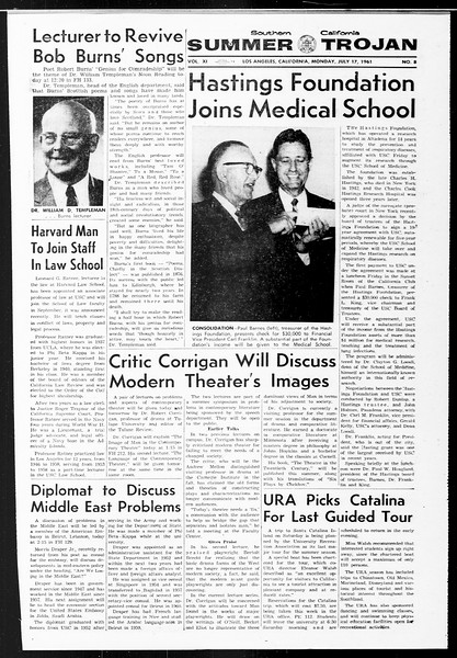 Summer Trojan, Vol. 11, No. 8, July 17, 1961