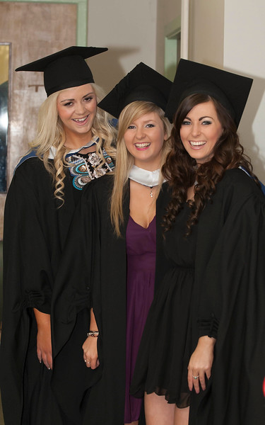 Pictured are Kate Cummins, Waterford, Louise McNulty, Waterford and Amy Webster, Tipperary who graduated Bachelor of Science in Multimedia . Picture: Patrick Browne