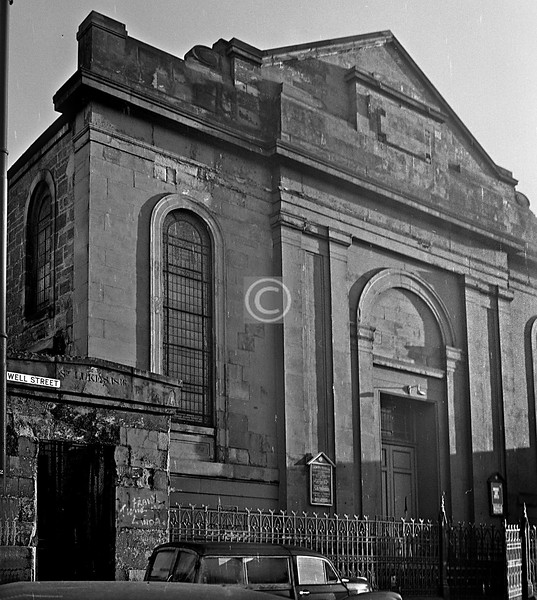 St Luke's in Well St. December 1975.   Now spruced up and in Bain Square.