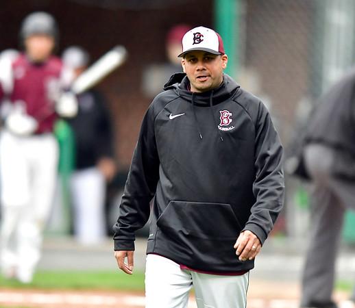 5/1/2019 Mike Orazzi | Staff Bristol Central Baseball Coach Bunty Ray at Muzzy Field Wednesday evening.