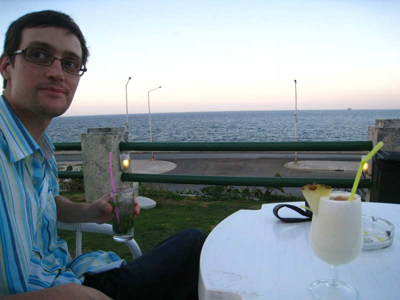 Sunset drinks (mojito for Mat and Pina Colada for Sarah) at the Hotel Nacional overlooking the Malecon