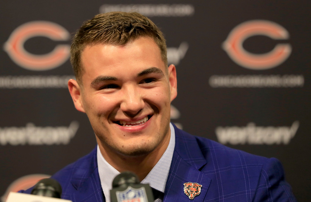 . Chicago Bears\' first round draft pick quarterback Mitchell Trubisky, from North Carolina, smiles during an NFL football news conference Friday, April 28, 2017, in Lake Forest, Ill. (AP Photo/Charles Rex Arbogast)