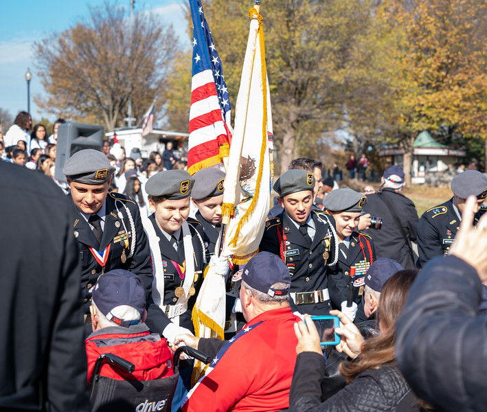 The JROTC greeted all the veterans