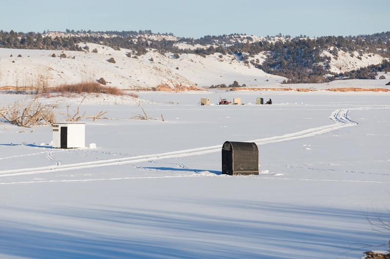 Ice fishing huts on Tongue River Resv.