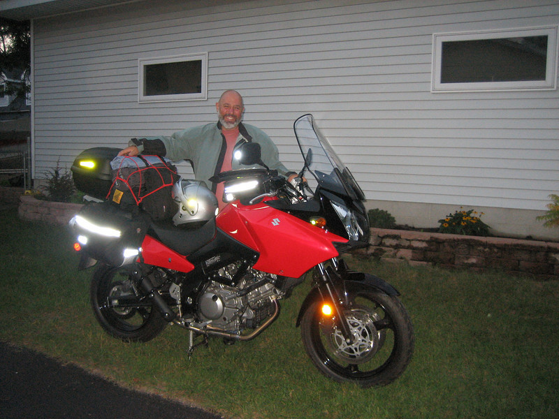 Setting off on a ride around Lake Superior on my new 2006 650cc V Strom. The weather was so hot I left St. Paul at dusk and rode most of the night. A week after completing the 5 day ride I did it again in the other direction.   By this time I've lost count of how many motorcycle adventures I've taken.