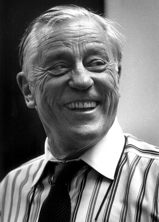 . FILE - Ben Bradlee, former Washington Post editor during the Watergate scandal, at the Washington Post in Washington, DC on June 21, 1995. (AP Photo/The Washington Post, Bill O\'Leary, File)