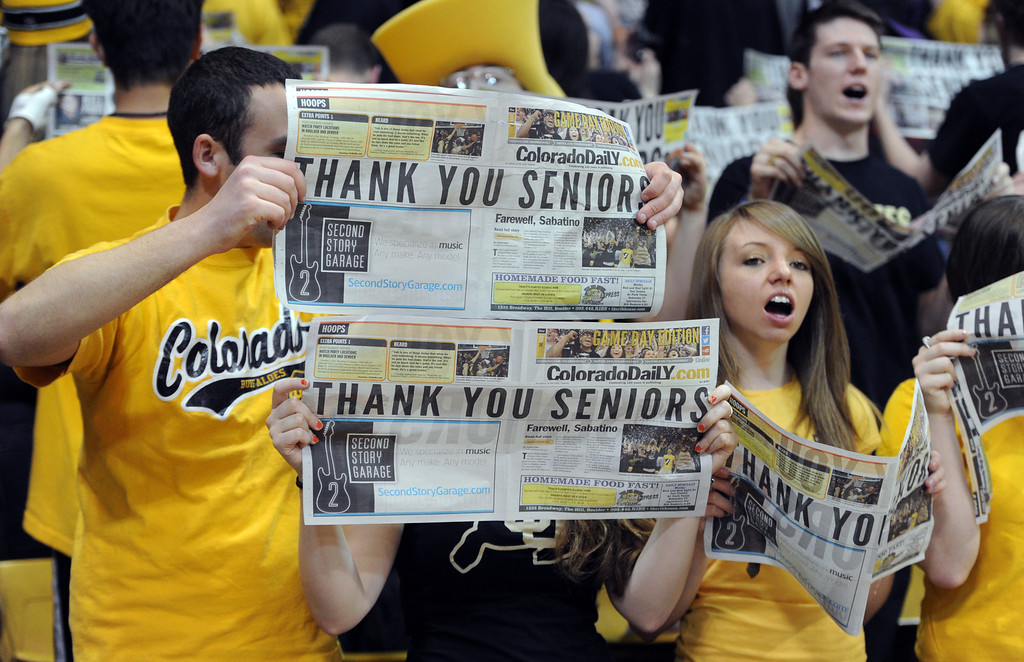 . The CU student section have a message for the CU seniors during the first half of the March 9, 2013 game in Boulder.    (Cliff Grassmick/Boulder Daily Camera)