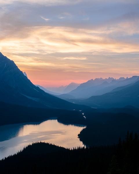 Peyto Lake and the Valley Behind