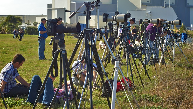 02/24/2011 -- Cape Canaveral, Florida -- Cameras are positioned along Kennedy Space Center's turning basin just over an hour before space shuttle Discovery's launch.